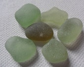 Mixed light green sea glass - Very pretty English beach find pieces