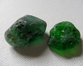 Bonfire sea glass - 2 large and lovely green English beach find pieces