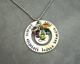 name necklace with birthstones, washer, mothers necklace, grandma gift, family necklace, birthstone necklace