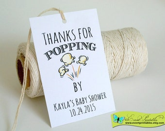 Printable Popcorn Tags, Thanks for Popping By Tags, Popcorn Thank You Tags, Popcorn Favor Tags, Popcorn Gift Tags by Event Printables