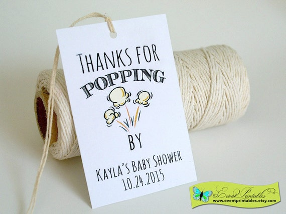 Printable Thanks for Popping By Tags, DIY Popcorn Thank You Gift Tags ...