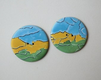 Large Round Polymer Clay Buttons, blue yellow green 35 mm buttons, 1 3/8 inch