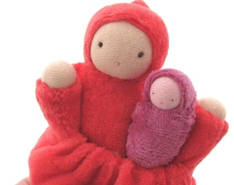 Pocket doll natural fiber waldorf red mother baby tooth fairy PMR1