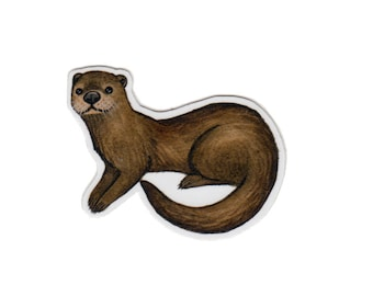 Otter Wildlife Magnet / Nature Art / Refrigerator Magnet / Office Magnet / Party Favor / Small Gift