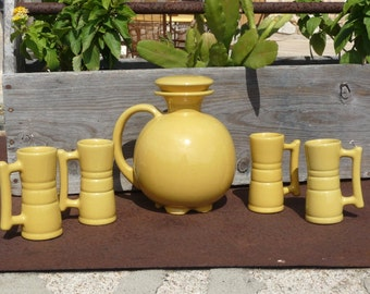 Frankoma Ball Pitcher #82, with Lid & Four Demitasse Cups #26DC in Yellow