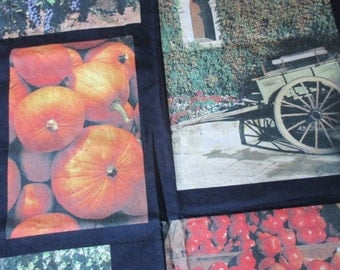 SALE  1 1/4 yd Vintage fall photo fabric pumpkins apples trees leaves fences  wagon architectural design