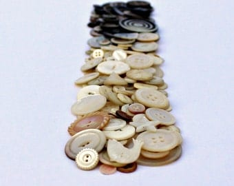 Mother of Pearl Buttons - Assorted Antique and Vintage Bulk Lot - 200 Buttons - Dark Grey to White - Large to Small - Carved, Shank