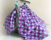 Car Seat Canopy, Car Seat Cover, Cart Cover, Blanket in Owls Purple & Turquoise