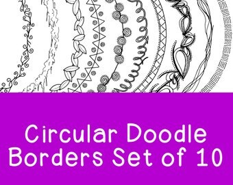 Circle Doodle Borders Clip Art Bundle PNG JPG Blackline Commercial Personal Leaves Swirls Squiggles Round