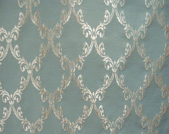 "Upholstery Drapery Jacquard Damask Palladium 595 lagoon Fabrics sold yard 55"""