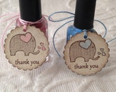 Set Of 12 Mini Scallop Elephant Thank You Tags - Nail Polish Tag - Baby Shower Favor Tag