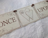 Once Upon A Time Banner With Heart Pieces - Bridal Shower Decor - Wedding - Photo Prop