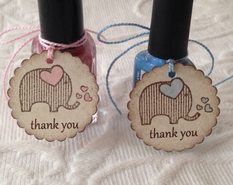 Elephant Thank You Tags - Pink and Blue Baby Elephant Tags - Nail Polish Tag - Baby Shower Favor Tag