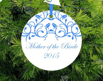 Mother of the Bride Snowflake Porcelain Newlywed Holiday Ornament, Just Married,ORDR2 Lovebirds