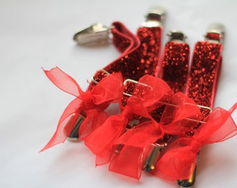 THIGH HIGH sock GARTERS - crocodile clips - onto shorts or knickers - pretty little bows - red garters - Gothic - sock  suspenders