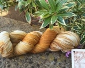 "100 gms hand painted merino / silk  lace weight yarn. "" pumpkin pie """