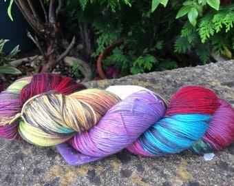 """100grms hand painted merino/nylon yarn """" aurora borealis """""""