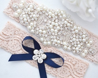BULSH PINK  Crystal pearl Wedding Garter Set, Stretch Lace Garter, Rhinestone Crystal Bridal Garters