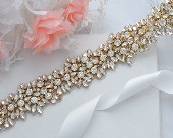SALE Gold JASMINE SWARVOSKI wedding crystal sash , belt
