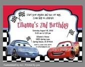 Cars Birthday Invitation, Sally Invitations, Lightning McQueen Birthday Invitations, Disney Cars Invitation, Checkered, Printable