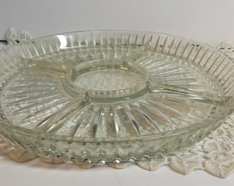 Pressed Glass Vegetable Platter Divided Sectioned
