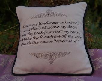 Miniature Edgar Allan Poe Inspired Pillow. The Raven Quote. Cotton Decorative Pillow