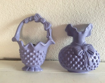 Lavender Wall Decor - Wall Plaques -  Shabby Cottage Chic - Burwood Hobnail - Girls Room - Baby Girls Nursery - Vintage 1983 - Set Of 2