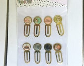 Carpe Diem The Reset Girl A5 Epoxy Metal Clips by Simple Stories, Snap product for A5 or mini planners, for scrapbooking, card making