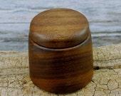 Wood Turned Box - Walnut - Rustic Box - Hand Carved Box - Guitar Pick Box - Ring Box - Keepsake Box - Lidded Box - Wooden Box