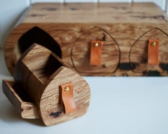 Large wooden box reclaimed timber multiple drawer hidden compartment with genuine leather drawer pulls