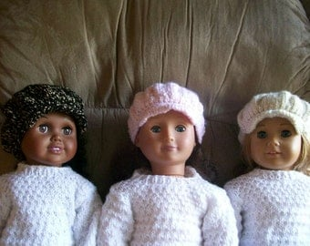 44) Newsboy Cap for ANY 15 and 18 Inch Dolls Knit Hand Made American Girl Cabbage Patch Bitty Baby