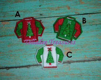 "Ugly Sweater with Tree Feltie - 1 3/4"" small felt - Great for Hair Bows or Crafts"