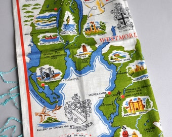 Lancashire Map - Ulster Irish Linen Tea Towel