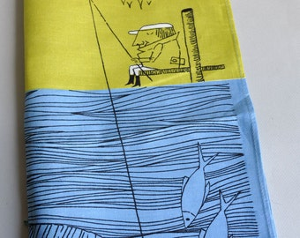 RARE Fishmans Big Catch - Lamont Irish Linen Tea Towel - Tags
