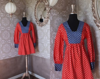 Vintage 1960's 70's Red and Blue Nautical Print Mini Dress Medium