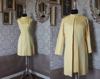 Vintage 1960's Jackie O Yellow Fitted Dress and Jacket S/M