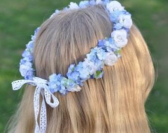 Light Blue Snowball Hydrangea Floral Crown, Bridal Headpiece, Bride Hair Flowers, Flower Wreath by Holly's Wedding Flowers.