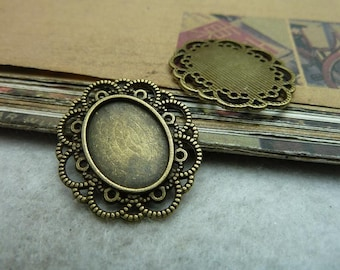 20 pcs 13x18mm Antique Bronze  Cameo Cabochon Base Setting Tray Blanks Pendants Charm Pendant C7299