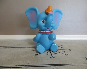 Walt Disney Blue Dumbo Figurine Hard Plastic Vintage Dumbo Blue Elephant Rubber Elephant Elephant Toy Rubber Toy