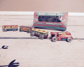 Mini Train Set Baby Train Set in Original Box Litho Train Choo Choo Train Collectible Train Zoo Animals Tin Toys Stocking Stuffer for Him