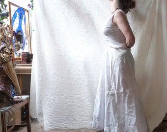 White petticoat, Edwardian Era lingerie, cotton undergarment