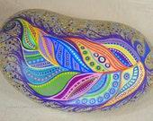 Paint Rock-Feather Doodle Zentangle