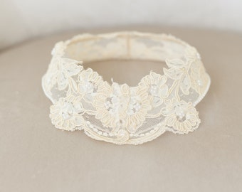 Lace Bridal Cap, Lace Circlet, Princess Grace Lace Cap, Lace Halo, Vintage Ivory Bridal Veil, Ivory Lace Crown, Ivory Cap - STYLE 38