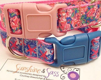 Lilly Pulitzer Inspired Bright Dog Collar in Lucky Charms She She Shells / Adjustable Inspired Lilly Pulitzer Dog Collar
