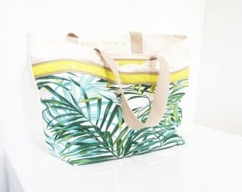 "Tote bag with glitter and palm made in cotton ""Hawaï""// Gift for her// summer bag // Big Bag"