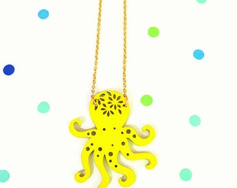 Octopus Necklace,Nautical Necklace,Octopus Jewelry,Octopus Pendent, Ocean Necklace,Sea Life Jewelry,Beach Theme Necklace,Mermaid Jewelry