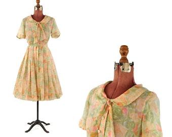 Vintage 1960's Sheer Cotton Gauze Pastel Watercolor Floral Print Ascot Tie Garden Party Dress S
