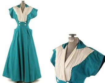 Vintage 1940's Teal Green Crisp Cotton Dolman Sleeves Wrap Wide A-line Sweep Lounge Day Garden Dress XS
