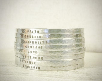 Super Skinny Engraved Silver Cuff Bracelet - Personalized Cuff Bracelet with Custom Stamped - Customized with Your Text - Great Gift Idea