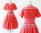 1950s Sailor Dress / Paisley Sailor Dress / 1950s Sailor Collar Dress / Cotton Day Dress / Small Medium / 27 Waist